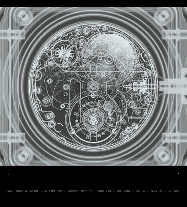 X-ray of the BR-X1 Tourbillon Sapphire de Bell & Ross