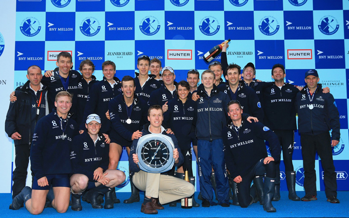The 2014 winning team Oxford University Boat Club with the JeanRichard Wall Clock